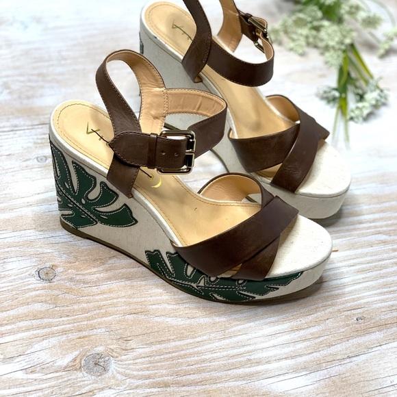 af912b5286918 Anthropologie Shoes | New Vicenza Anthro Palm Leaf Wedges Sandals 40 ...